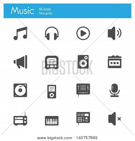 Music flat icons Player flat icons set