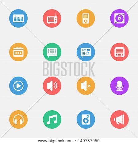 Music flat icons on the color substrate