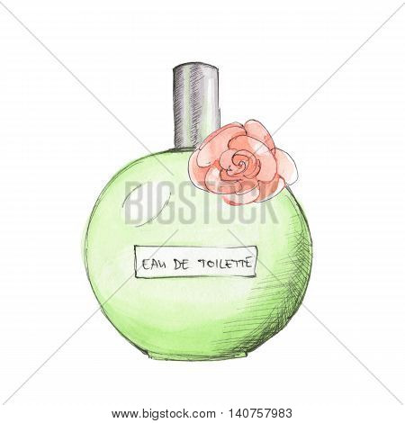 Bottle of perfume. Ink and watercolor sketch 4. Isolated on white background