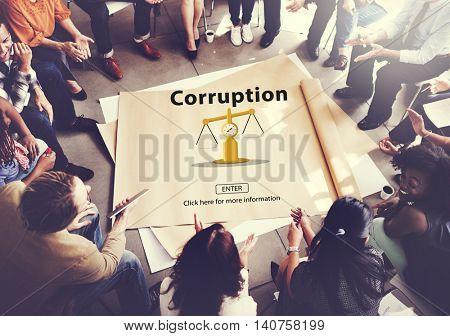 Corruption Bribe Cheat Illegal Money Finance Concept