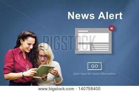 News Alert Announcement Broadcast Article Concept