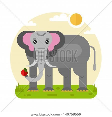 Flat design vector geometric illustration of funny elephant with fruit in the trunk. Including sun, grass, clouds. Animal in the wild nature concept.
