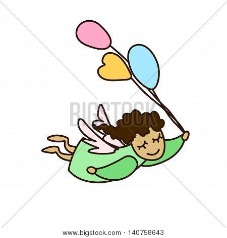 Vector illustration of flying cartoon angel with balloons. Vector little angel