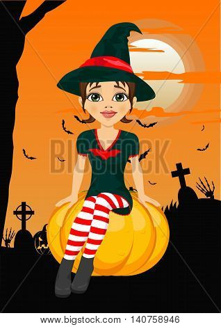Halloween party with a cute witch sitting on pumpkin against greeting card with pumpkins, bats and tombstone