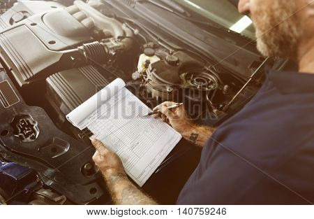 Garage Automotive Tuning Adjustment Clipboard Concept