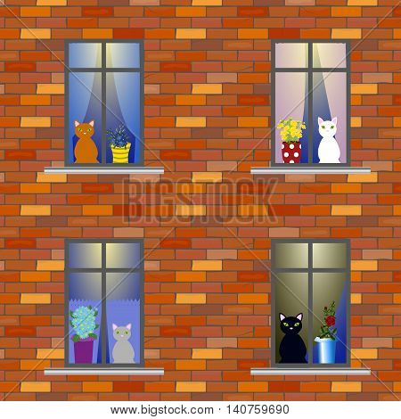 The wall of the house where the cats live, windows with curtains and flower pots, cats looking out of the windows. Vector illustration