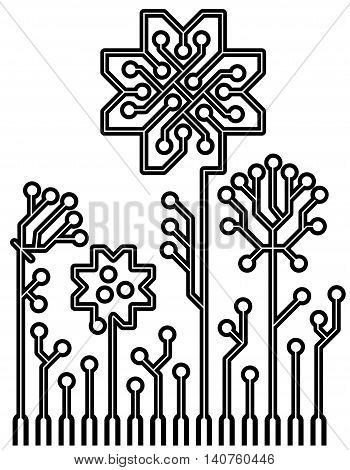 A concept of information technology lgo. Vector circuit board flowers