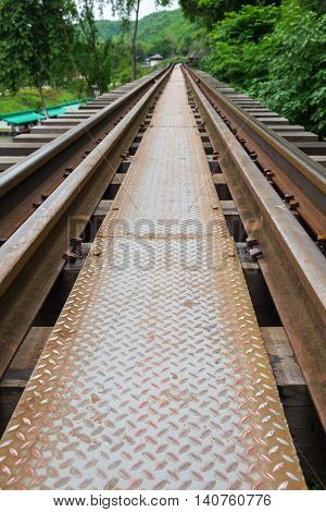 Close up of the Death Railway bridge located at Kanchanaburi Thailand.