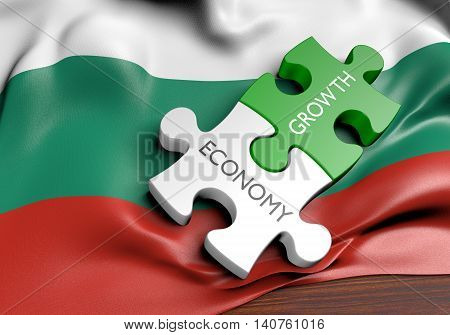 Bulgaria economy and financial market growth concept, 3D rendering