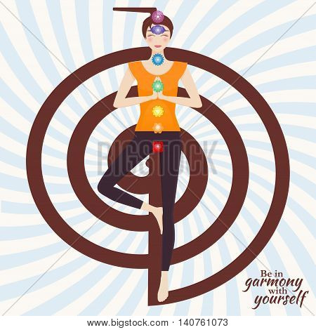 Attractive young girl practicing tree yoga pose. Chakra pictograms on choku rei symbol at the back. Vector illustration.