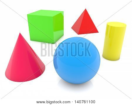 Geometric shapes in different colors on white. 3D illustration