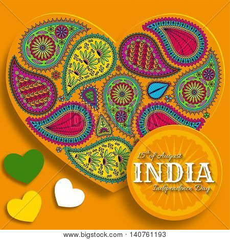 15th of August India Independence Day. Greeting card with paisley ornament. Vector illustration.
