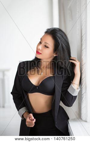 Pretty Brunette In Black Jacket