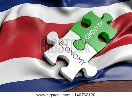 Costa Rica economy and financial market growth concept, 3D rendering