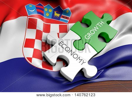 Croatia economy and financial market growth concept, 3D rendering