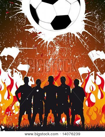 team on the fire background - rasterized football poster