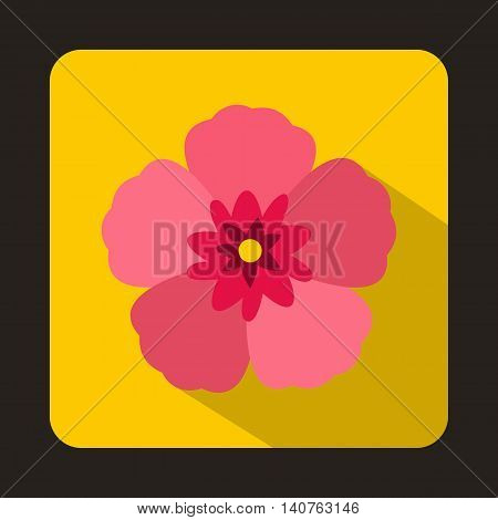 The Rose of Sharon icon in flat style on a yellow background