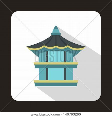 Hyangwonjeong hexagonal pavilion in Gyeongbokgung Palace, South Korea icon in flat style on a baby whute background