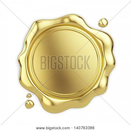 Blank golden wax seal isolated on white background. 3d illustration