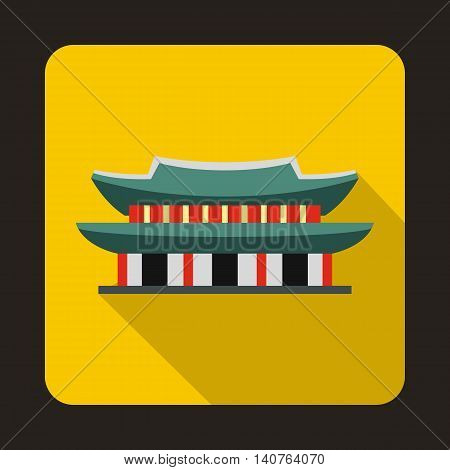 Gyeongbokgung palace in Seoul, Korea icon in flat style on a yellow background