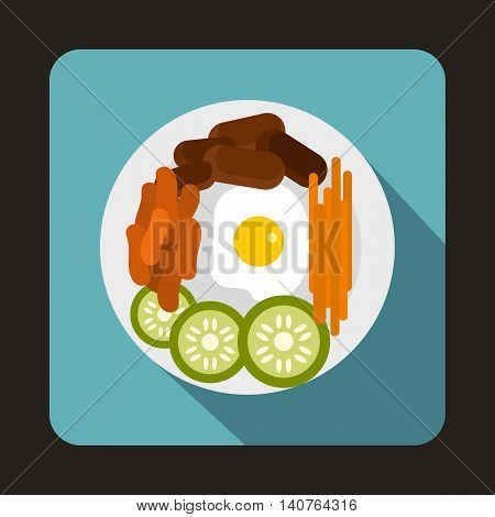 Korean food icon in flat style on a baby blue background