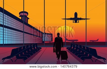 On the image it is presented People at the airport