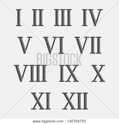 Roman numerals set of vector isolated from the background. The old Latin characters indicating the numbers.