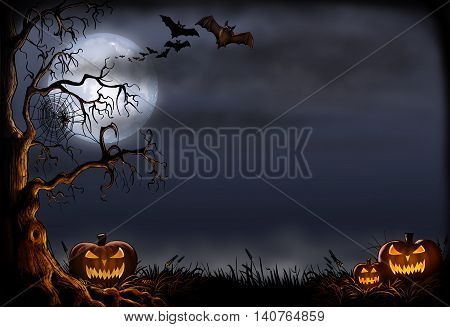 Halloween background with pumpkins, bats and a creepy tree.