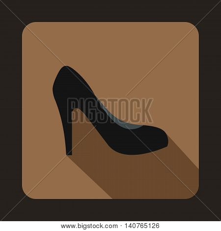 Black high heel shoe icon in flat style on a coffee background
