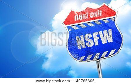 Not safe for work sign, 3D rendering, blue street sign