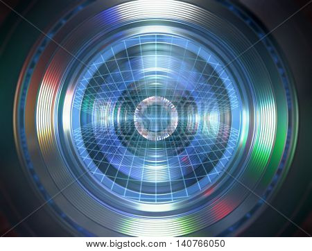 3D illustration. Robotic eye with similarity to the human eye and elements of a photographic lens.