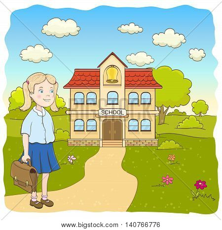 cartoon little girl in blue skirt with bag on the way to the primary school building. hand drawn vector illustration