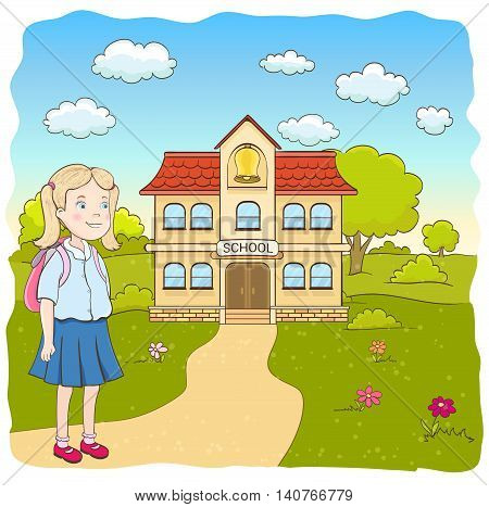 cartoon little girl in blue skirt with backpack on the way to the primary school. hand drawn vector illustration