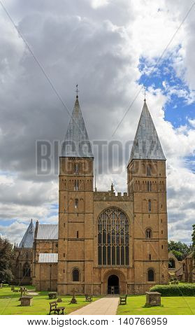 SOUTHWELL ENGLAND - JULY 31: Southwell Minster showing the West side. In Southwell Nottinghamshire England. On 31st July 2016.