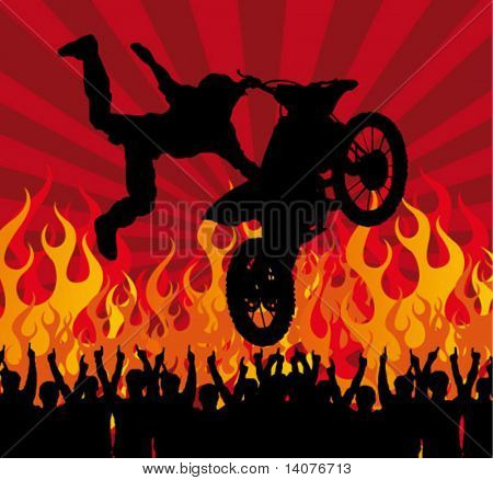 motocross poster - rider on the motorcycle