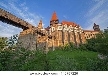 Day view on Corvin castle one of famous Romanian landmarks located in Transylvania also related to Dracula names and vampires.