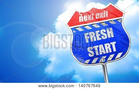 Fresh start sign, 3D rendering, blue street sign