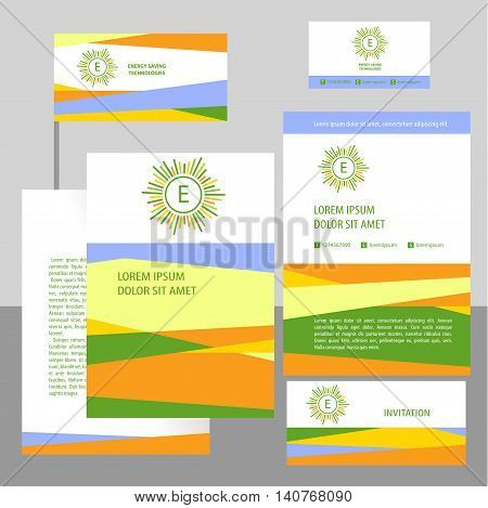 Vector Logo With Letter E. Banner And Flag With Concept Symbols Of Natural Eco Resources And Energy.