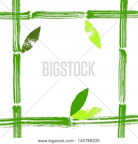 Hand painted green bamboo stems and leaves vector frame background