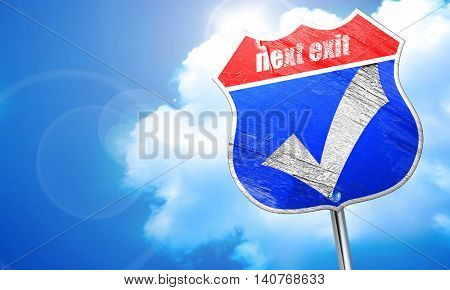 Approved tick with smooth lines, 3D rendering, blue street sign