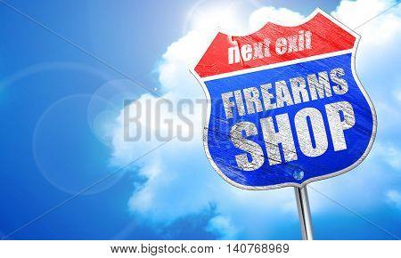 firearms shop, 3D rendering, blue street sign