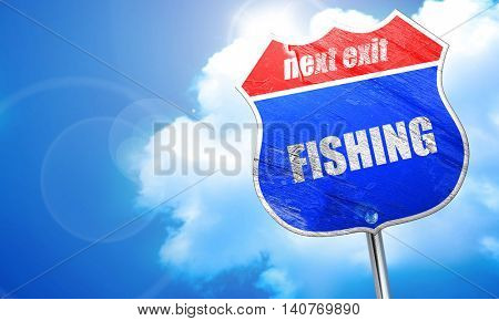 fishing, 3D rendering, blue street sign