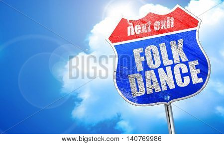 folk dance, 3D rendering, blue street sign