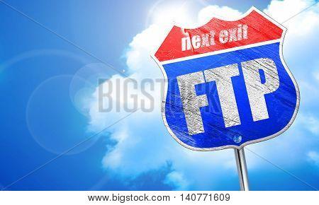 ftp, 3D rendering, blue street sign