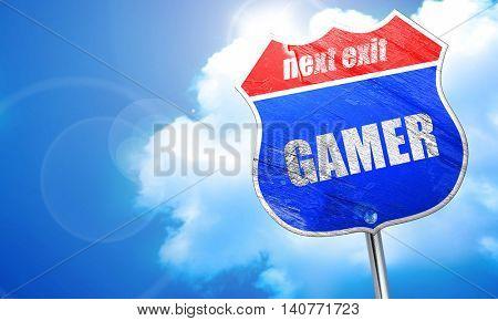 gamer, 3D rendering, blue street sign