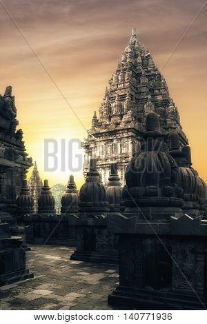 Sunrise At Prambanan Hindu Temple. Java, Indonesia
