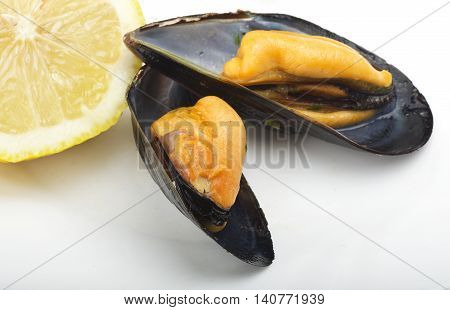 Fresh mussel cooked close up on the white plate