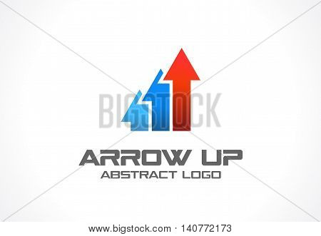 Abstract logo for business company. Corporate identity design element. Technology, Industrial, market logotype idea. Red arrow up, growth chart, progress graph and success concept. Color Vector icon