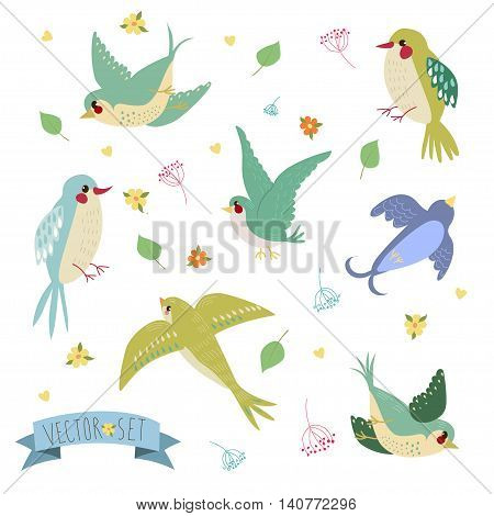 Swallows on white background Three are two sitting swallows and three flying swallows in cartoon style
