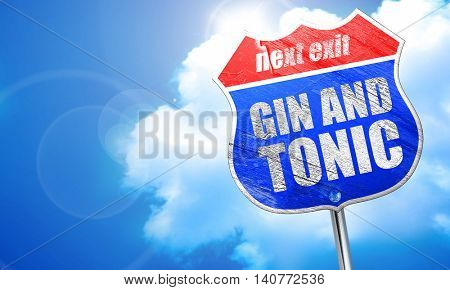 gin and tonic, 3D rendering, blue street sign